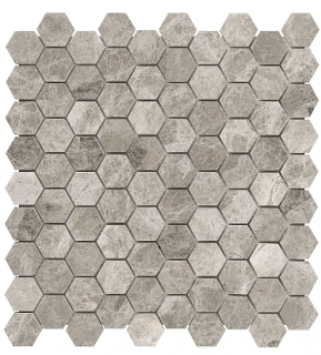 "1-1/4""x1-1/4"" Phantasie Gray Hexagon Polished Marble Mosaic Tile 76-430"