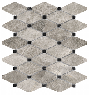 Phantasie Gray Clipped Diamond Polished Marble Mosaic Tile 76-431
