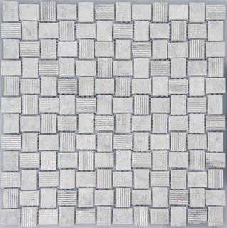 "Arvex - Acque Forti Silver Foil & Carrara Marble Mosaic Tile (11.8""x11.8"" sheet)"