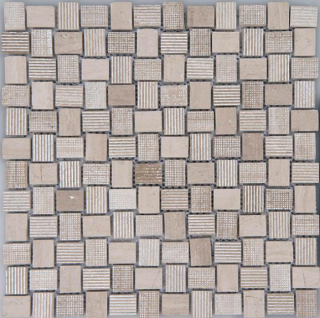 "Arvex - Acque Forti Silver Foil & Wooden White Mosaic Tile (11.8""x11.8"" sheet)"