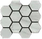 "Happy Floors - Bardiglio Grigio Natural Hexagon Mosaic (12""x14"" Sheet)"