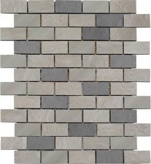 "American Olean - Refined Metals Stainless & Gunmetal Blend 2x1 Brick Joint Mosaic (10-5/8""x12-11/16"" Sheet)"