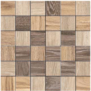 """Happy Floors - 2""""x2"""" Reserve Warm Mix Mosaic (Honey, Fawn & Saddle)"""