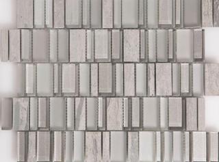 "Arvex - Metallic Glass & Stone Piano Key Mosaic (11.8""x11.8"" Sheet)"