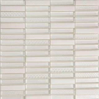 "Arvex - 0.6""x3"" Engraved Glass & Stone Mosaic CE16 K-DSL-01B (11.8""x11.8"" Sheet)"
