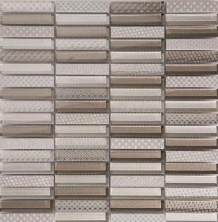 "Arvex - 0.6""x3"" Engraved Glass & Stone Mosaic CE16 K-DSL-04B (11.8""x11.8"" Sheet)"