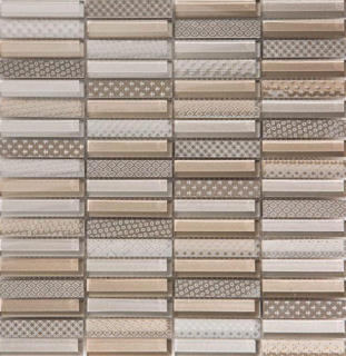 "Arvex - 0.6""x3"" Engraved Glass & Stone Mosaic CE16 K-DSL-10B (11.8""x11.8"" Sheet)"