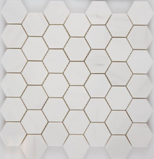 "Arvex - 2"" Bianco Dolomiti Polished Hexagon Mosaic (11.93""x11.73"" Sheet)"