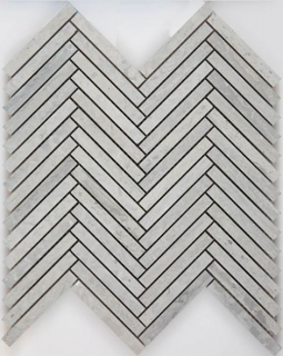 "Arvex - 0.5""x4"" Wooden Silver Honed Herringbone Mosaic (11""x11.65"" Sheet)"