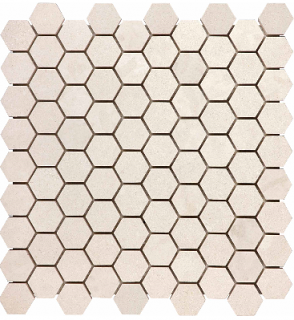 "1-1/4""x1-1/4"" Serene Ivory Polished Limestone Hexagon Mosaic 76-440 (12""x12"" Sheet)"