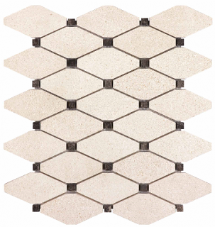 "Serene Ivory Honed Limestone Clipped Diamond Mosaic Tile 76-446 (12""x12"" Sheet)"