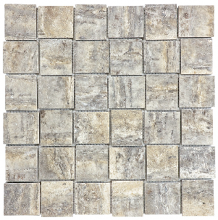 "2""x2"" Silver Ash Veincut Filled & Polished Travertine Basketweave Mosaic Tile 76-391"