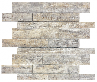 Silver Ash Veincut Filled & Honed Travertine Random Strip Mosaic Tile 76-390