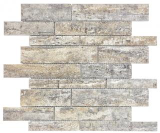 Silver Ash Veincut Filled & Polished Travertine Random Strip Mosaic Tile 76-392