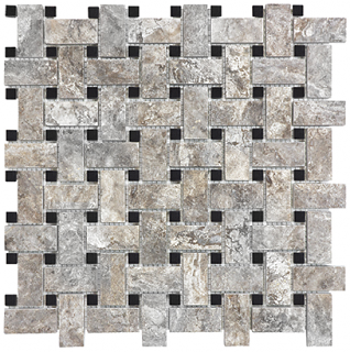 Silver Ash Crosscut Filled & Honed Travertine Basketweave Mosaic Tile 76-383