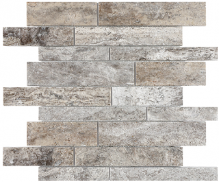Silver Ash Crosscut Filled & Honed Travertine Random Strip Mosaic Tile 76-384