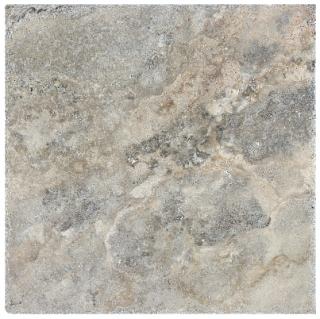 "8""x8"" Silver Ash Chiseled & Brushed Travertine Tile 73-565"