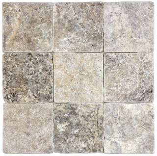 "4""x4"" Silver Ash Tumbled Travertine Tile 73-010"
