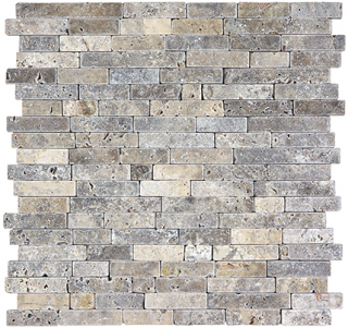 Silver Ash Tumbled Travertine Random Strip Mosaic Tile 76-388