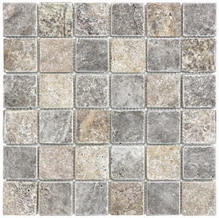 "2""x2"" Silver Ash Tumbled Travertine Mosaic Tile 76-385"