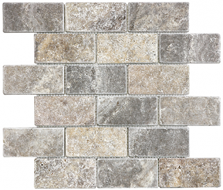"2""x4"" Silver Ash Tumbled Travertine Mosaic Tile 76-386"