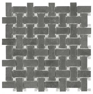 Stark Carbon Polished Marble Basketweave Mosaic Tile 76-419