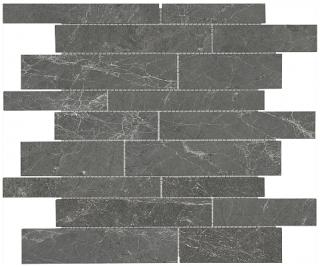 Stark Carbon Random Strip Polished Marble Mosaic Tile 76-418