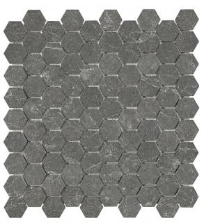 "1-1/4""x1-1/4"" Stark Carbon Hexagon Polished Marble Mosaic Tile 76-420"