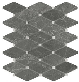 Stark Carbon Clipped Diamond Polished Marble Mosaic Tile 76-421
