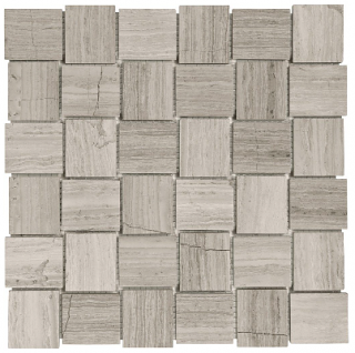 "2""x2"" Strada Mist Veincut Honed Marble Basketweave Mosaic Tile 76-399"