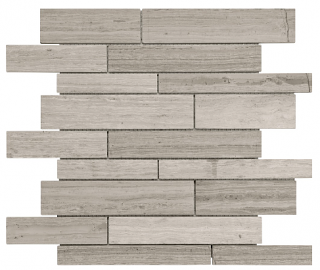 Strada Mist Polished Marble Random Strip Mosaic Tile 76-398