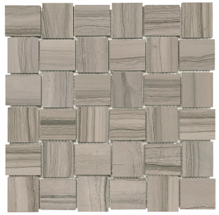 "2""x2"" Xylo Mica Veincut Polished Marble Basketweave Mosaic Tile 76-401"