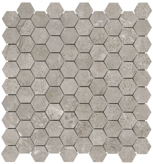 "1-1/4""x1-1/4"" Ritz Gray Hexagon Polished Marble Mosaic Tile 76-477"