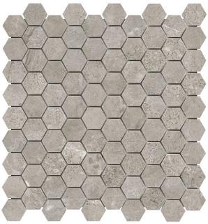 "1-1/4""x1-1/4"" Ritz Gray Hexagon Honed Marble Mosaic Tile 76-482"