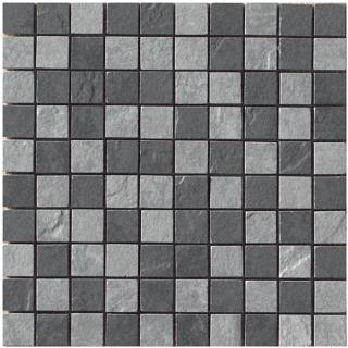 """Happy Floors - 1-1/2""""x1-1/2"""" Eternity Mix (Black & Grey) Mosaic (12""""x12"""" Sheet)"""