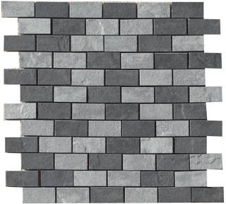 """Happy Floors - 1""""x2"""" Eternity Mix (Black & Grey) Mosaic (12""""x12"""" Sheet)"""