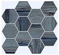 "Happy Floors - Exotic Stone Lagoon Polished Hexagon Mosaic (12""x14"" Sheet)"