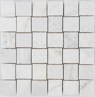 "Arvex - 2""x2"" Acque Forti Bianco Carrara Engraved Mosaic Tile"