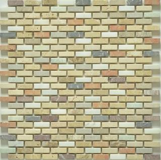 "Milstone - 0.4""x1"" Moses Brick Tumbled Mosaic 3123010 (12""x12"" Sheet)"