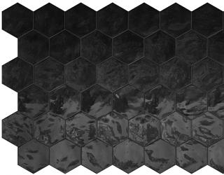 "Terratinta - 6"" Hexa Black Swan Hexagon Glossy Wall Tile TTHXW09G"