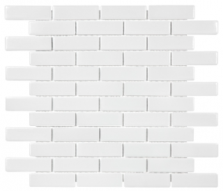 "Anatolia - 1""x3"" Soho White Mini Brick Mosaic Tile 51-060 (11""x12"" Sheet)"