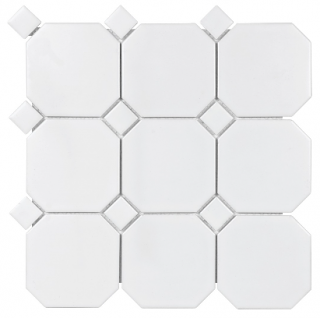"Anatolia - 4"" Soho White Octagon w/ White Dot Matte Mosaic Tile 51-095 (12""x12"" Sheet)"