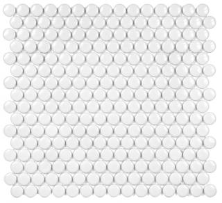 "Anatolia - 3/4"" Soho White Penny Round Glossy Mosaic Tile 51-030 (12""x12"" Sheet)"