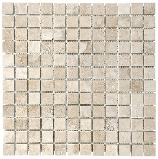 "1""x1"" Ivory Travertine Filled & Honed Mosaic Tile 76-338"