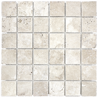 "2""x2"" Ivory Travertine Tumbled Mosaic Tile 76-073"