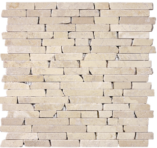 "5/8"" Berkshire Crema Tumbled Random Strip Mosaic Tile 76-135"