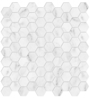 "1-1/4""x1-1/4"" Bianco Venatino Hexagon Honed Marble Mosaic 76-371 (12""x12"" Sheet)"