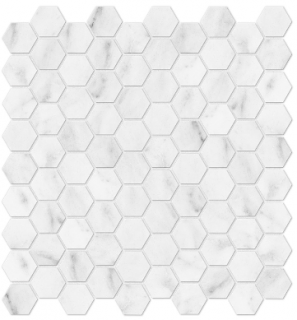 "1-1/4""x1-1/4"" Bianco Venatino Hexagon Polished Marble Mosaic 76-372 (12""x12"" Sheet)"
