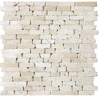 "5/8"" Tumbled Ivory Travertine Random Strip Mosaic Tile 76-137"