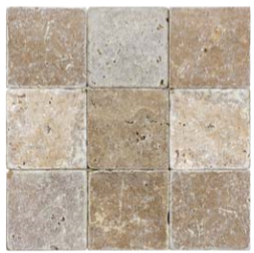 "4""x4"" Noce Tumbled Travertine Tile 73-002"